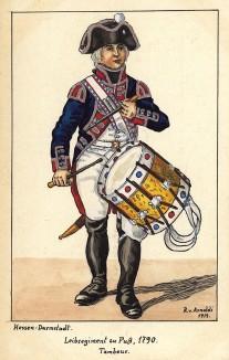 1790 г. Барабанщик гвардейского пехотного полка zu Fuss ландграфства Гессен-Дармштадт. Коллекция Роберта фон Арнольди. Германия, 1911-29