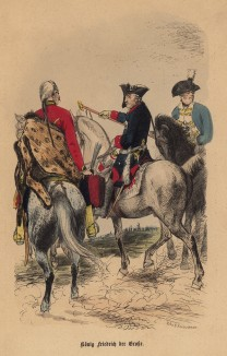 """Король Фридрих Великий и его генералы в одном из сражений Семилетней войны. Илл. Адольфа Менцеля к известной работе Эдуарда Ланге """"Солдаты Фридриха Великого"""", изданной в Лейпциге в 1853 году"""