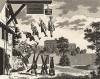 Вейинг Хаус (Дом весов, или Дом взвешивания), 1763. Хогарт сделал забавный рисунок для Джона Клабба (John Clubbe) как фронтиспис к его «Опытам по физиогномике». Первая гравюра - Салливана, вторая – Райленда (лица выполнил Хогарт). Лондон, 1838
