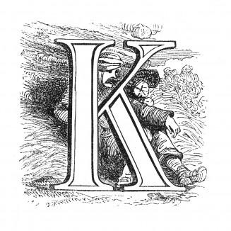 Инициал (буквица) K, предваряющий тридцать восьмую главу «Истории императора Наполеона» Лорана де л'Ардеша о походе на Москву и об оккупации ее французскими войсками. Париж, 1840