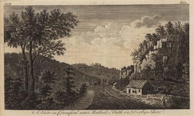Вид на Кромфорд около города Мэтлок-Бат в графстве Дербишир (из A New Display Of The Beauties Of England... Лондон. 1776 г. Том 2. Лист 105)