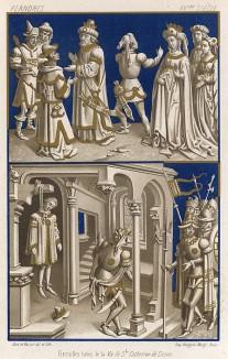 Изображенные в средневековом манускрипте сцены из жизни итальянских аристократов времён святой Екатерины Сиенской, терциарки доминиканского ордена (из Les arts somptuaires... Париж. 1858 год)
