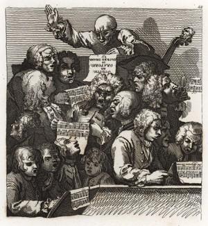 Хор, 1733. Квитанция на оплату «Современного ночного разговора». Хор во главе с Джоном Хаггинсом (в центре), другом Торнхилла, исполняет ораторию «Юдифь», либретто для которой написал Вильям Хаггинс, сын Джона. Геттинген, 1854