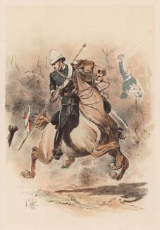 """Английские уланы 17-го герцога Кембриджа полка в бою с зулусами (из """"Иллюстрированной истории верховой езды"""", изданной в Париже в 1893 году)"""