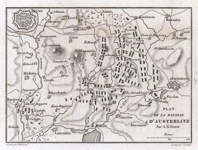 План сражения при Аустерлице 2 декабря 1805 г. Составил французский картограф Аристид-Мишель Перро. Аустерлиц вошел в историю как «битва трёх императоров».