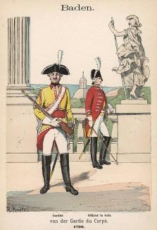 Офицер и кавалерист конной гвардии Великого герцогства Баден в униформе образца 1790 г. Uniformenkunde Рихарда Кнотеля, л.11. Ратенау (Германия), 1890