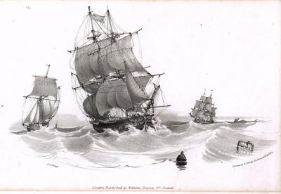 Парусники в непогоду (литография Джорджа Ф. Брагга, изданная в Лондоне в 1839 году)