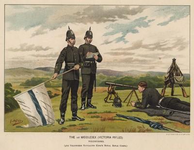 Пехотинцы 1-го Мидлсекского полка на учениях (иллюстрация к Her Magesty's Army: a Descriptive Account of the Various Regiments... Лондон. 1881 год)