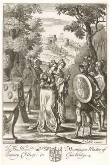 """Пророчество Энею. """"Энеида"""" Вергилия, книга III. Лист подписного издания посвящён Джону Монтагью (1655--1728/9 гг.) -- главе Тринити Колледжа в Кембридже"""