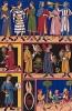 Фландрские и французские сокольничьи XII--XIV вв. тренируют ловчих птиц с помощью перчатки, трубы и клобука (из Les arts somptuaires... Париж. 1858 год)