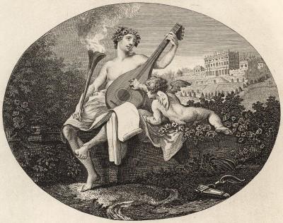 Гименей и Купидон, 1748. Эта изящная гравюра использовалась как входной билет на маскарад во дворце Клайведен, проходивший в присутствии принца и принцессы Уэльсских. Позже была использована как билет на оплату гравюры «Сигизмунда». Лондон, 1838