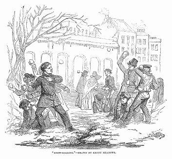Весёлая игра в снежки юных британцев, изображённая британским художником-иллюстратором и карикатуристом Джозефом Кенни Медоусом (1790 -- 1874 гг.) (The Illustrated London News №93 от 10/02/1844 г.)