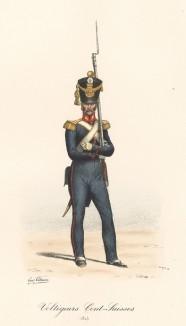 Вольтижёр швейцарской гвардии короля Франции в униформе образца 1815 года. Histoire de la Maison Militaire du Roi de 1814 à 1830. Экз. №93 из 100, изготовлен для H.Fontaine. Том I, л.33. Париж, 1890