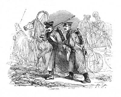 Австрийская кампания 1805 г. Остатки русско-австрийских войск отступают после сокрушительного поражения под Аустерлицем 2 декабря 1805 г. Histoire de l'empereur Napoléon. Париж, 1840