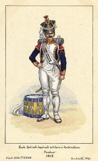 1807 г. Барабанщик французской военной школы в Фонтенбло. Коллекция Роберта фон Арнольди. Германия, 1911-29