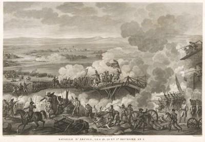 Сражение при Арколе 15-17 сентября 1796 г. Аркольский мост, на котором генерал Бонапарт, рискуя жизнью, лично возглавил атаку, стал одним из легедарных мест в карьере великого полководца. Tableaux historiques des campagnes d'Italie... Париж, 1806