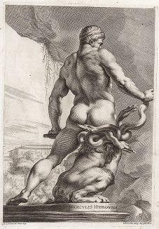 Геракл с гидрой и львом. Лист из Sculpturae veteris admiranda ... Иоахима фон Зандрарта, Нюрнберг, 1680 год.