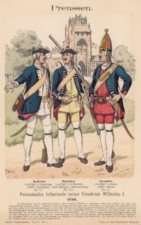 Прусские мушкетёры и гренадер в 1729 году (из Uniformenkunde Рихарда Кнотеля)