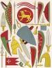 Предметы военной экипировки XI и XII вв.: латы, штандарты, гербы, оплечья-эспальеры (из Les arts somptuaires... Париж. 1858 год)