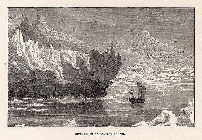 "Арктика. Лето в проливе Ланкастер. Гравюра из серии  ""Half Hours In The Far North"", Лондон, 1897 год"