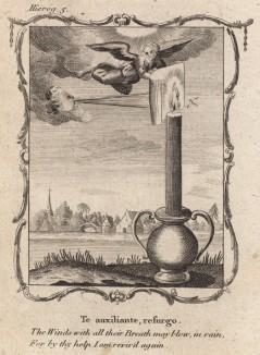 """Огонь моей веры не задует лютый ветер (из бестселлера XVII -- XVIII веков """"Символы божественные и моральные и загадки жизни человека"""" Фрэнсиса Кварльса (лондонское издание 1788 года))"""