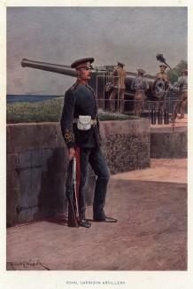 Солдат королевской береговой артиллерии в парадной форме (иллюстрация к His Magesty's Territorial Army... Лондон. 1911 год)