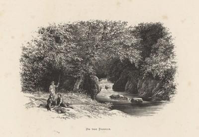 """Отдых в местечке Даргл, Англия (иллюстрация к работе """"Пресноводные рыбы Британии"""", изданной в Лондоне в 1879 году)"""