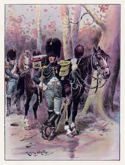 """Офицер конных гренадер в полевой форме (иллюстрация к работе """"Императоская Гвардия в 1804--1815 гг."""" Париж. 1901 год. (экземпляр № 303 из 606 принадлежал голландскому генералу H. J. Sharp (1874 -- 1957))"""