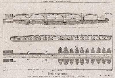 Лондонские мосты в 1827 году: существующий и строящийся.
