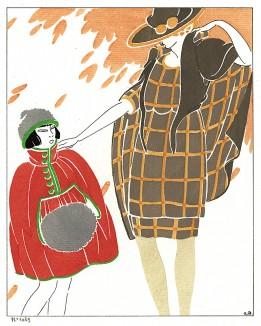 Осень. Реклама детского отдела неизвестного парижского дома моды. Les feuillets d'art. Париж, 1920
