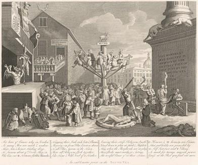 Пузыри Южного моря, 1721. Одна из первых известных сатирических гравюр Хогарта. Посвящена компании «Южное море» (финансовой пирамиде начала XVIII века). В 1720 г. из-за ее деятельности многие богатые семьи Англии были разорены. Лондон, 1838
