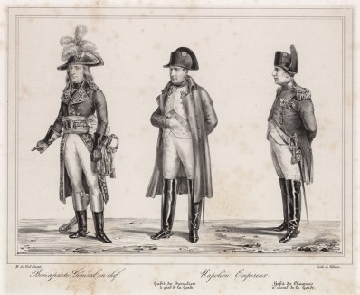 Наполеон Бонапарт - Первый консул и генерал; император Наполеон в мундире гвардейских гренадеров; Наполеон в любимой им форме гвардейских конных егерей. Париж, 1820