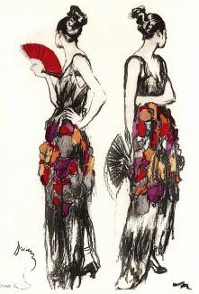Дама с веером. Рекламная иллюстрация в технике пошуар. Les feuillets d'art. Париж, 1920