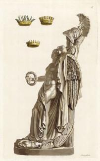 Короны цезарей и аллегория победы (из знаменитой работы Джулио Феррарио Il costume antico e moderno, o, storia... di tutti i popoli antichi e moderni, изданной в Милане в 1820 году (Европа. Том II))