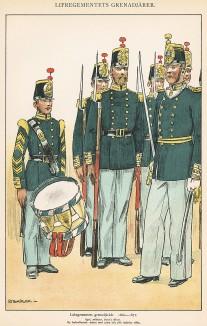 Гренадеры шведской лейб-гвардии в униформе образца 1860-72 гг. Svenska arméns munderingar 1680-1905. Стокгольм, 1911