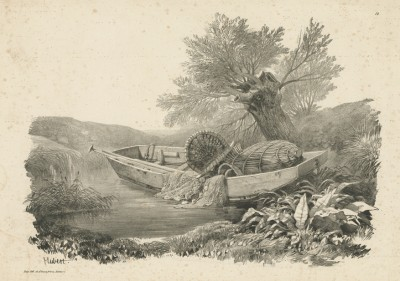 Рыбацкая лодка на берегу. Литография Жана Юбера. Париж, 1839