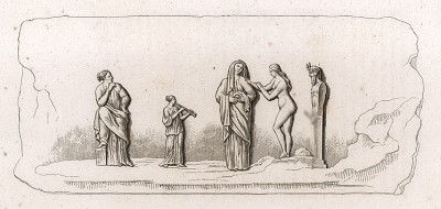 Жертвоприношение богу Приапу. Мраморный барельеф (высота 11 дюймов, длина 2 фута) отображает один из жестоких языческих обрядов – дефлорацию девушки, вышедшей замуж, с помощью статуи Приапа. Церемония проходила без участия мужчин.