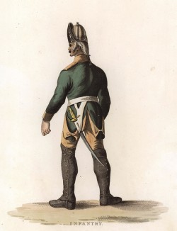 Русский гвардейский гренадер (лист 5 редкой работы The Costume of the Russian Army, from a Collection of Drawings made on the spot of the Right Honourable The Earl of Kinnaird, изданной в Лондоне в 1807 году)