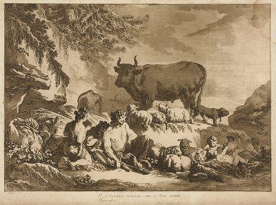 Cатиры и вакханки, стерегущие стада. Инкунабула акватинты работы Жана-Батиста Лепренса 1768 года, отпечаток бистром.