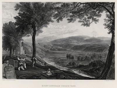 """Кладбище в Кирби Лонсдейл (лист из альбома """"Галерея Тёрнера"""", изданного в Нью-Йорке в 1875 году)"""