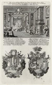 1. Дом Исаака и Ревекки 2. Исаак с сыном (из Biblisches Engel- und Kunstwerk -- шедевра германского барокко. Гравировал неподражаемый Иоганн Ульрих Краусс в Аугсбурге в 1700 году)