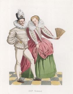 """Бальный танец при дворе Генриха III (XVI век) (лист 57 работы Жоржа Дюплесси """"Исторический костюм XVI -- XVIII веков"""", роскошно изданной в Париже в 1867 году)"""