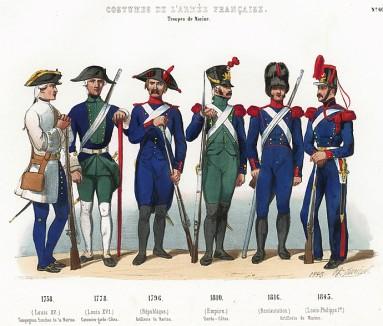 Униформа французской морской пехоты с 1758 по 1843 гг. Costumes de l'armée française depuis Louis XIV, jusqu'à nos jours, л.60. Париж, 1841