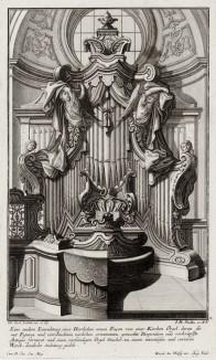 Церковный орган, украшенный фигурами ангелов. Johann Jacob Schueblers Beylag zur Ersten Ausgab seines vorhabenden Wercks. Нюрнберг, 1730