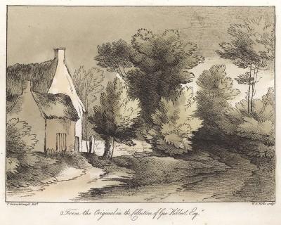 Коттедж с соломенной крышей. Гравюра с рисунка знаменитого английского пейзажиста Томаса Гейнсборо из коллекции Дж. Хибберта. A Collection of Prints ...of Tho. Gainsborough, Лондон, 1819.