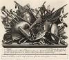 Билет на оплату «Похода в Финчли», 1761. Для продажи пародийного «Похода в Финчли» Хогарт выпускает билет с бравурной виньеткой, сложенной из атрибутов воинской славы вперемешку с «неуставными» предметами – топором, волынкой, ножницами и пр. Лондон, 1838
