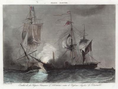 """Бой французского фрегата """"Алкмена"""" (Alcmène) с английским кораблём """"Венерабль"""" (Vénérable) 16 января 1814 года"""