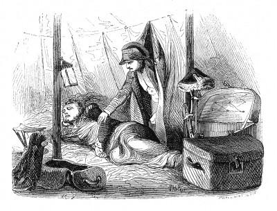 Император Наполеон в ночь на 18 ноября 1813 г. будит маршала Нея, чтобы отдать последние распоряжения перед предстоящим сражением за Лейпциг. Histoire de l'empereur Napoléon, Париж, 1840
