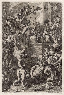 """Античные боги и скульптура. Фронтиспис к """"Iconologia Deorum,  oder Abbildung der Götter ..."""", Нюренберг, 1680."""