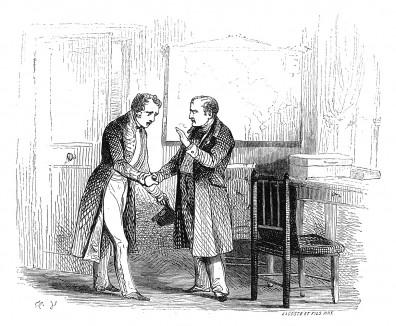 Наполеон прощается с доктором О'Мира и передает с ним письма для жены и сына. 16 мая 1818 г., вслед за отъездом Лас-Каза, личный врач императора Наполеона тоже вынужден покинуть остров. Histoire de l'empereur Napoléon, Париж, 1840